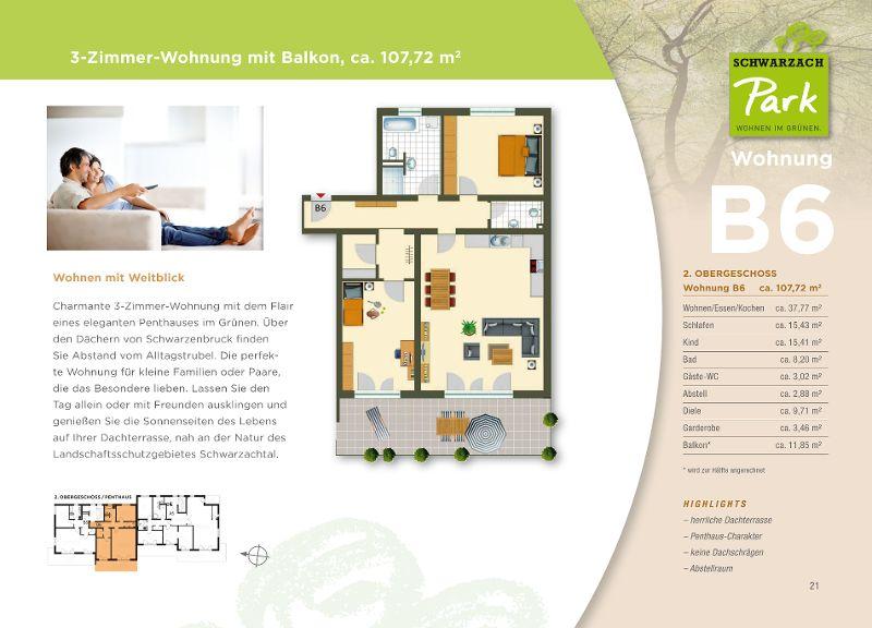 Wohnung B6 · Haus B: 2.OG · 107,72 M² · 3